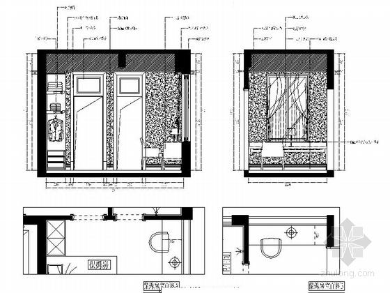 城市中心欧式风格六居室样板房装修图(含效果)保姆房立面图