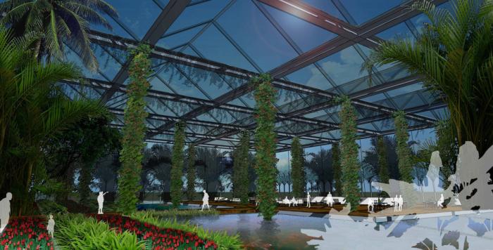 [上海]生态农业旅游庄园景观规划设计方案-花卉大棚效果图