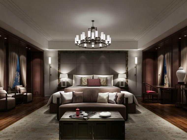 新中式臥室3D模型下載