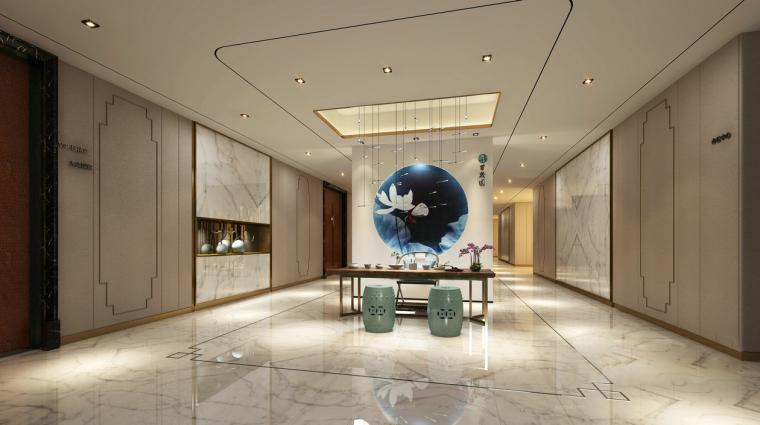 中式简约酒店过道3D模型