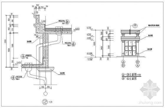 法式雨蓬线脚与排水设施做法详图