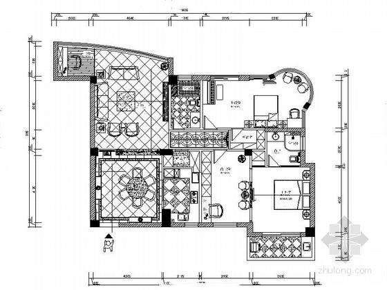 [浙江]高档小区三居室室内设计CAD施工图(含效果)