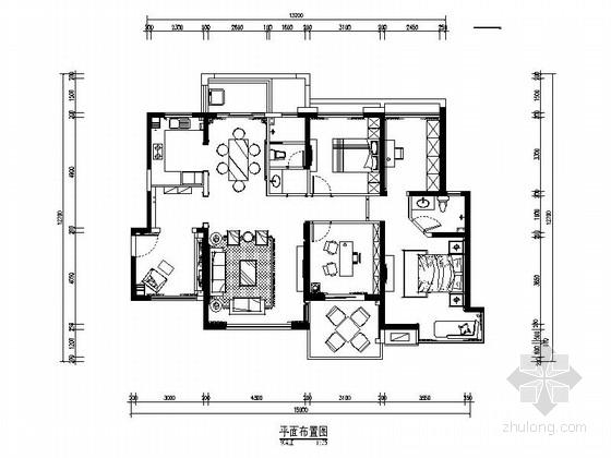 [郑州]独创经典简欧风格三居室装修CAD施工图(含效果)