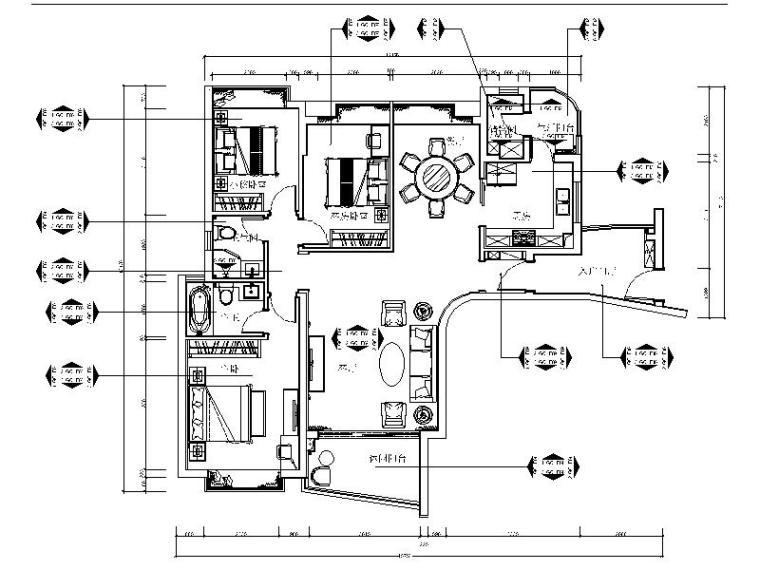 [深圳]高档精装豪华平层室内设计装修施工图