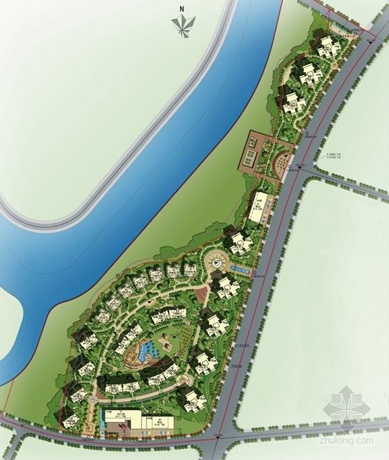 [成都]现代风格高层住宅及联排别墅区规划设计方案文本-现代风格高层住宅及联排别墅区规划总平面图