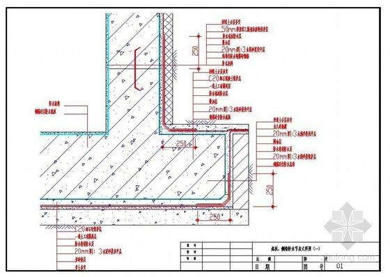 底板、侧墙防水节点大样图(一)