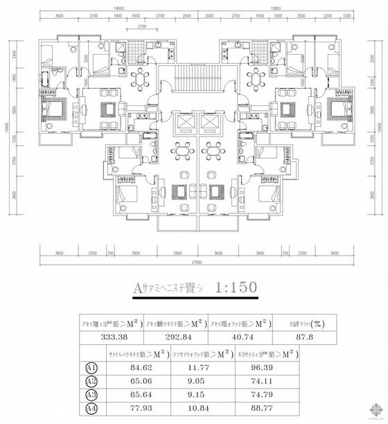塔式高层一梯四户户型图(96/74/75/89)
