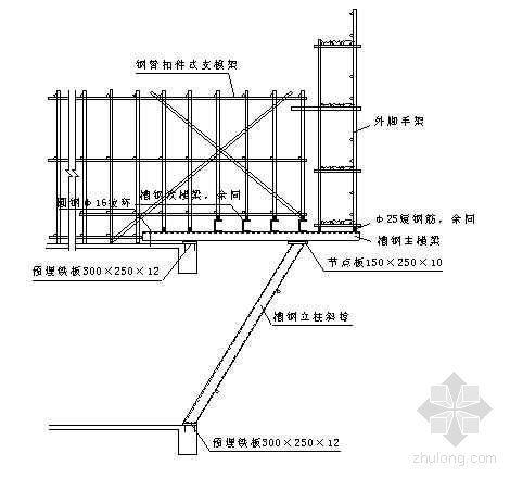 高空大跨度外挑现浇梁板模板支撑架施工工法