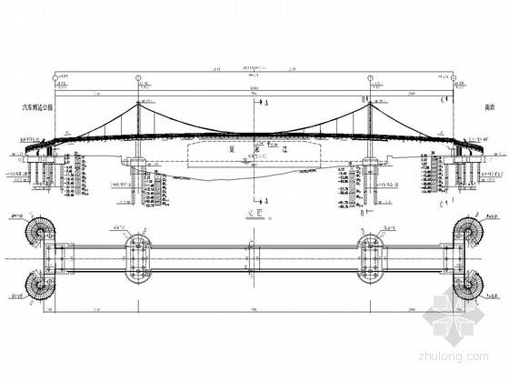 双塔自锚式悬索桥(景观桥)上部结构施工图(39张)