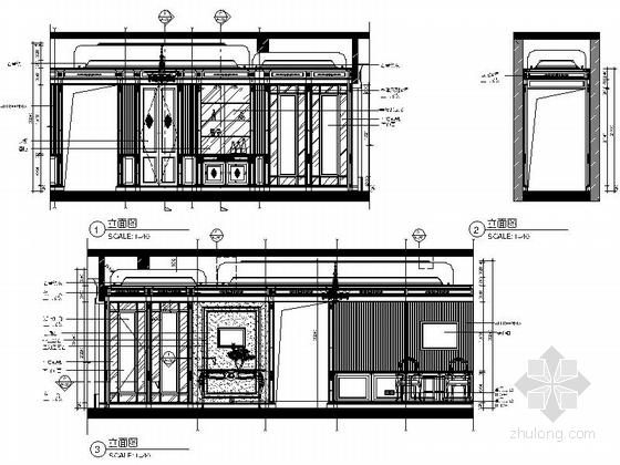 [上海]前卫小资风情欧式公寓室内精装样板房施工图-[上海]前卫小资风情欧式公寓精装样板房施工图立面图