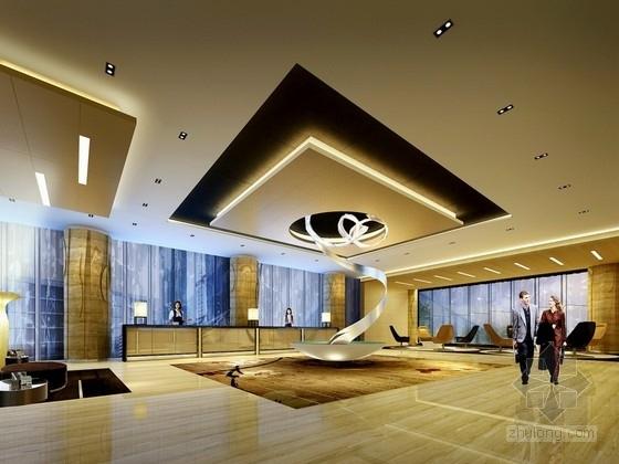 [深圳]龙华知名地产高档酒店式公寓设计装修方案图大堂效果图
