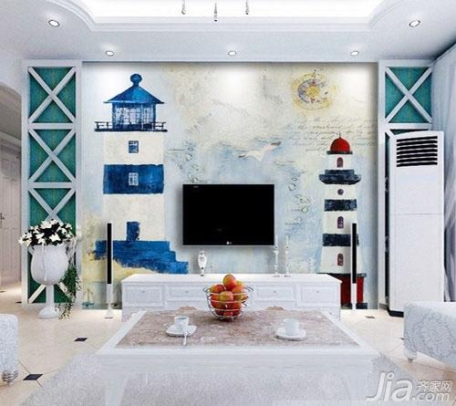 客厅背景墙也爱耍大牌你家客厅hold住吗?-水粉的插画涂鸦也可以成为作为背景墙,灯塔代表着一种守望,也寓意出对家的守望。所以如果嫌客厅墙面单调的话,动手绘画涂鸦吧。