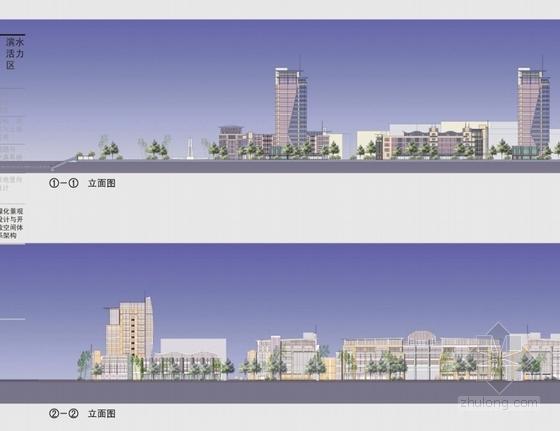 滨江现代风格城市规划立面图