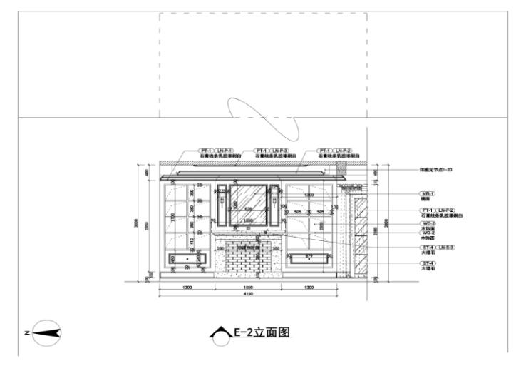 美式-复地爱伦坡别墅室内设计方案图(含效果图,施工图)-餐厅立面图CAD预览图