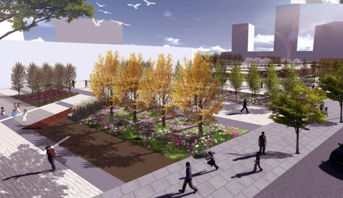 [山西]滨河崖壁生态立体化湿地公园景观设计方案-入口广场景观效果图