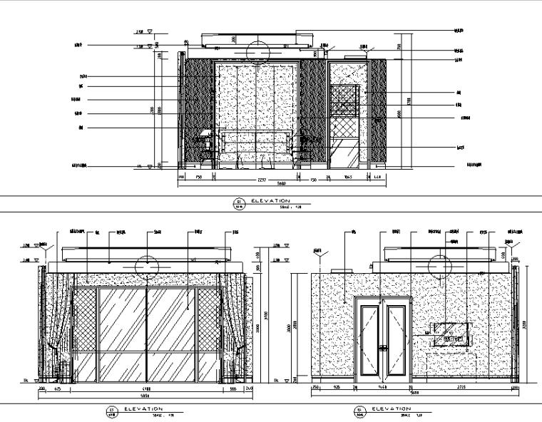 现代风格别墅总统套房设计施工图(附效果图)-立面图