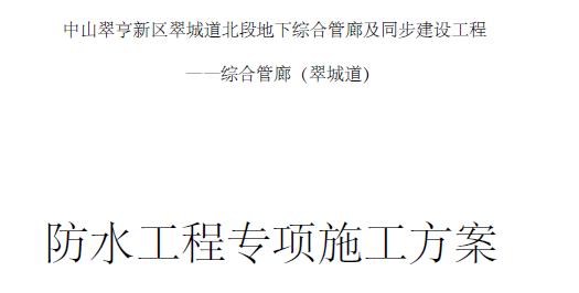 中山翠亨新区翠城道地下综合管廊防水工程专项施工方案47页