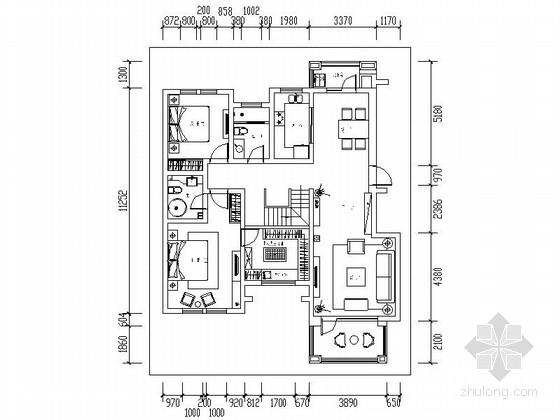 典雅现代简约复式样板间CAD装修施工图(含效果)