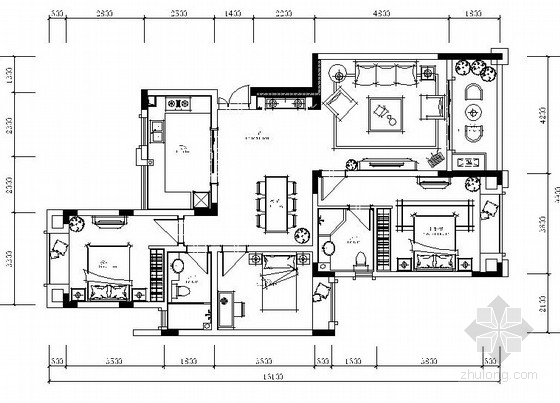 [原创]重庆欧式设计风格住宅楼标准层样板房设计施工图(含效果图)