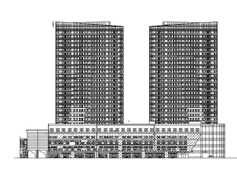 [黑龙江]高层双子塔式住宅建筑施工图(含商业影院建筑)