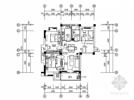 [武汉]主题花园新中式三居室B1样板间装修施工图(含效果实景及手绘图)