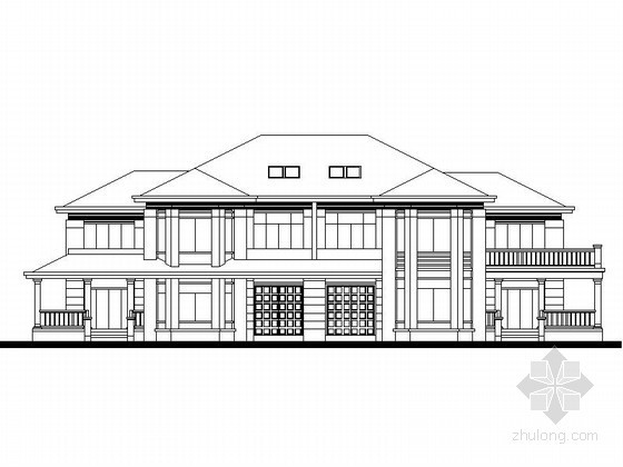 某二层欧式豪华双拼别墅建筑扩初图