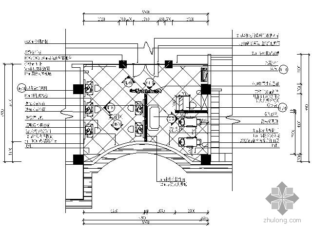 国际会所桑拿美容美发区施工图