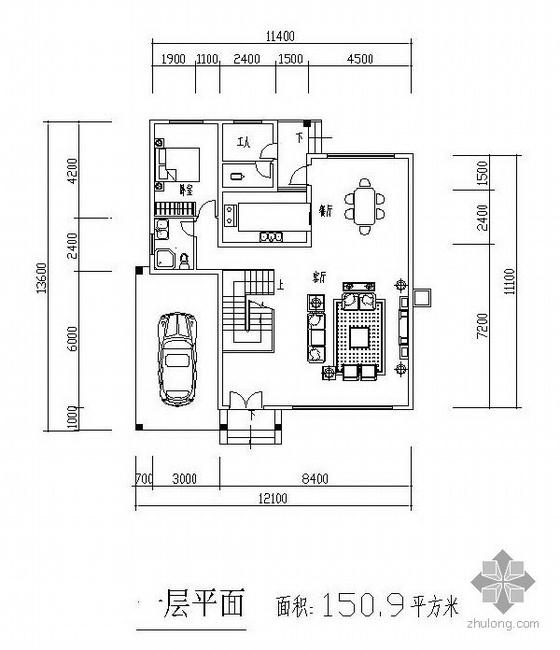 三层独栋别墅户型图(151/124/86)