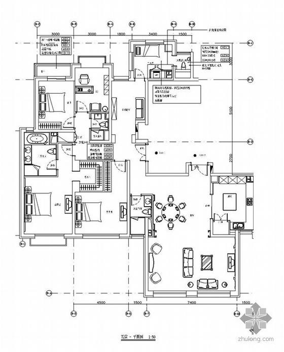 [北京]花园住宅五居室设计图