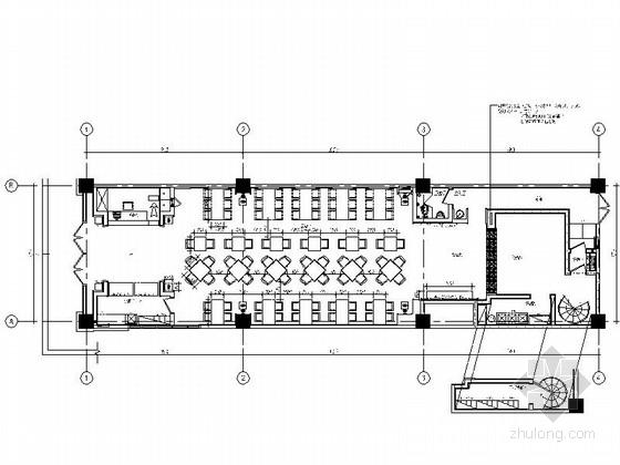 [郑州]朴实原木风格拉面馆室内CAD施工图(含实景效果图)
