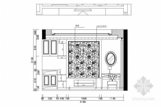 花园式住宅区欧式风格三层别墅装修图(含效果图) 主卧立面图