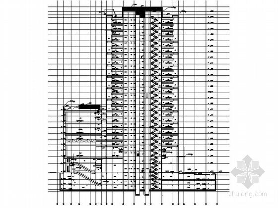 122米超高层知名企业办公总部建筑剖面图