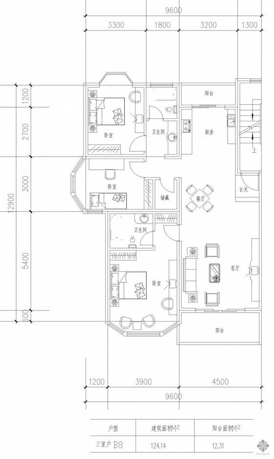 板式高层三室一厅单户户型图(124)