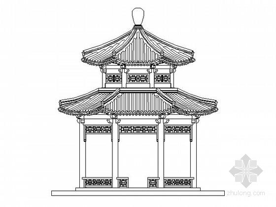 [仿古建]八柱重檐八角凉亭及曲桥组合施工图