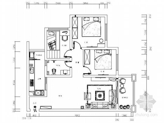 [广东]精品简欧风格三居室室内装修施工图(含效果)