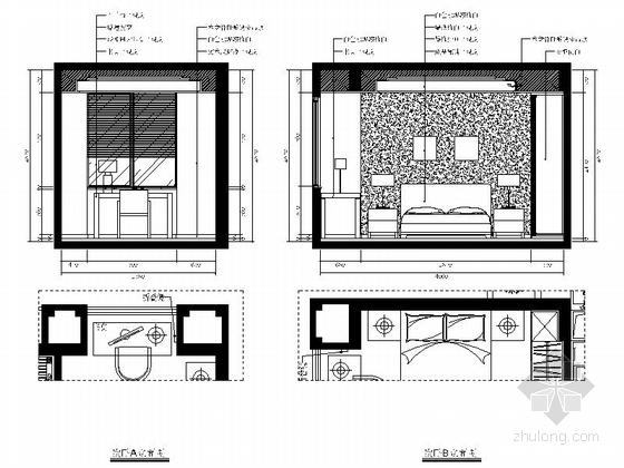 [福州]特色时尚住宅区现代简约两居室样板房装修图(含效果)次卧立面图