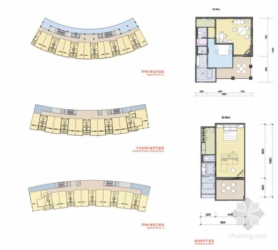 [海南]八爪鱼六星级酒店建筑设计方案文本(国际著名事务所)-现代风格主题酒店建筑设计平面图