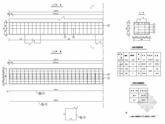 2×10m预应力混凝土简支空心板桥承台钢筋构造图