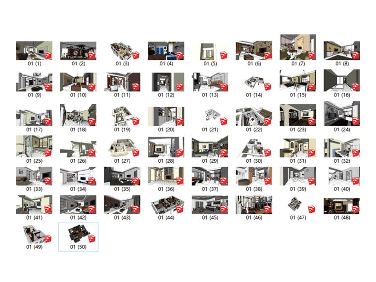 50款家装室内整体场景SU模型