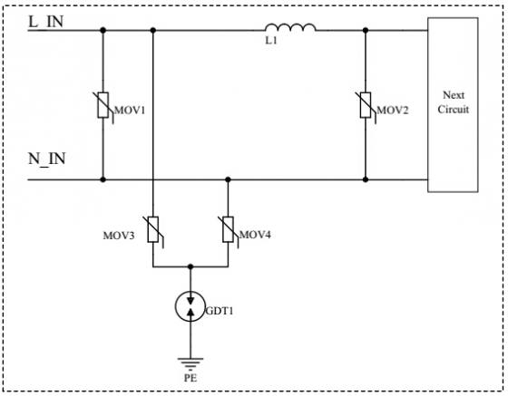 此防护方案采用了两级差模防护(mov1:大通流压敏电阻  mov2:小通流