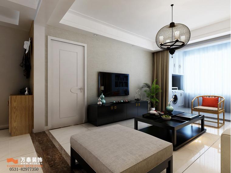 领秀公馆120平三室两厅装修,新中式风格真的很漂亮-客厅2.jpg