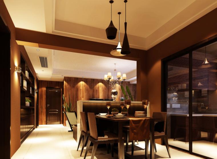现代风格二居室样板房设计CAD施工图(含效果图)_9