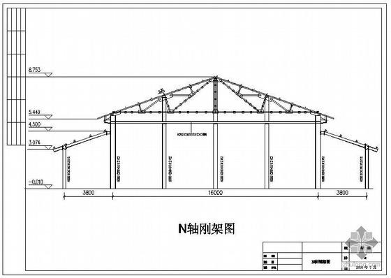 上海某宴会厅三角形钢屋架结构图