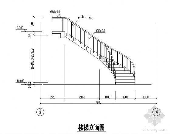 某弧形钢楼梯详图