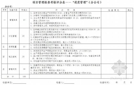 项目管理检查考核表(月度 全套)