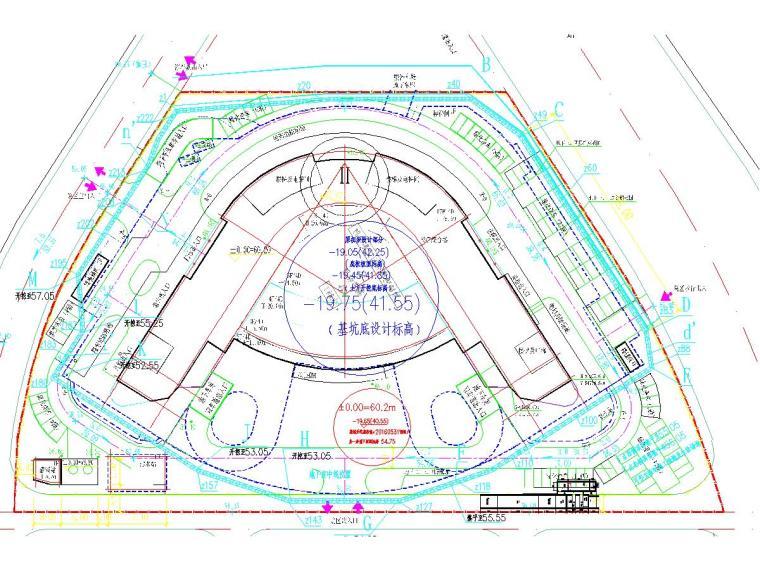 [湖南]20米深基坑土钉墙结合桩锚支护施工图(附基坑设计计算书)