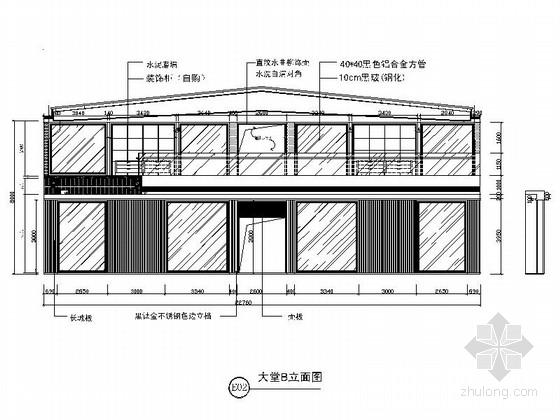 [嘉兴]某企业办公楼大堂及展厅室内装修图(含效果图) 立面图