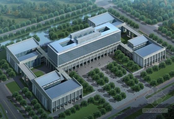 CBD地块院落式行政办公楼建筑效果图