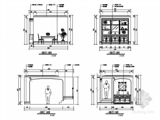 [辽宁]浪漫欧式风格两层别墅样板房室内装修施工图(含实景图)餐厅立面图