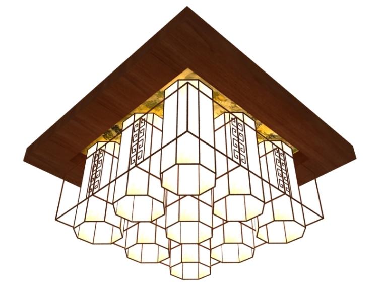 客厅中式吊灯3D模型下载